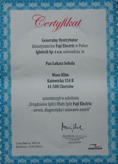 Certyfikat od Fuji Electric dla Waso Klim