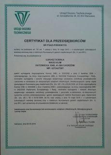 Certyfikat od Urzędu dozoru technicznego dla Waso Klim